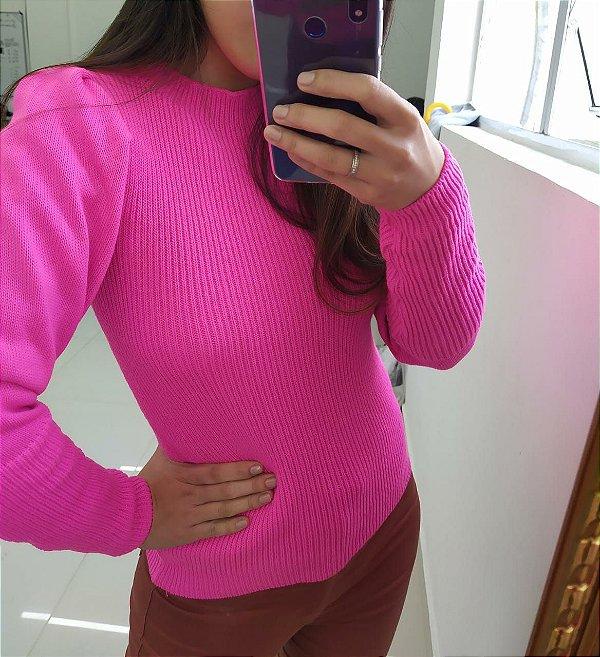 Blusa de tricot fashion com manga princesa - Pink neon