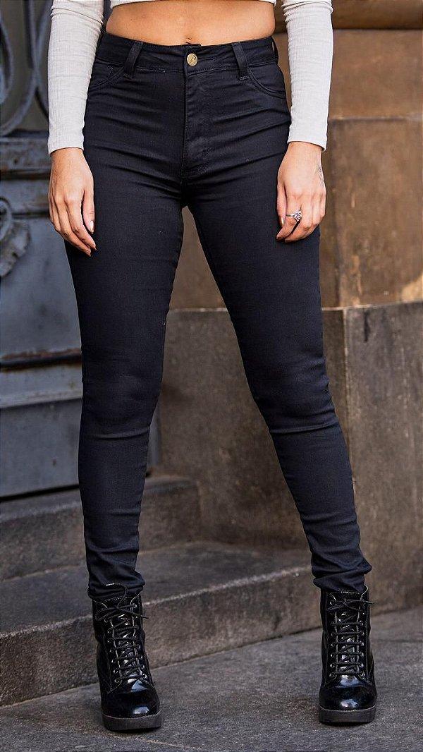 Calça jeans skinny cintura alta - Preto