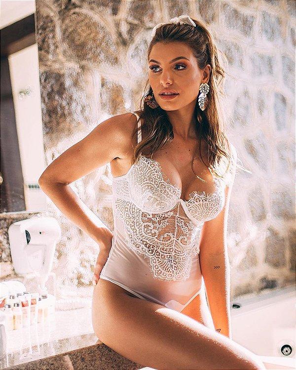 Lingerie body rendado Surya - branco