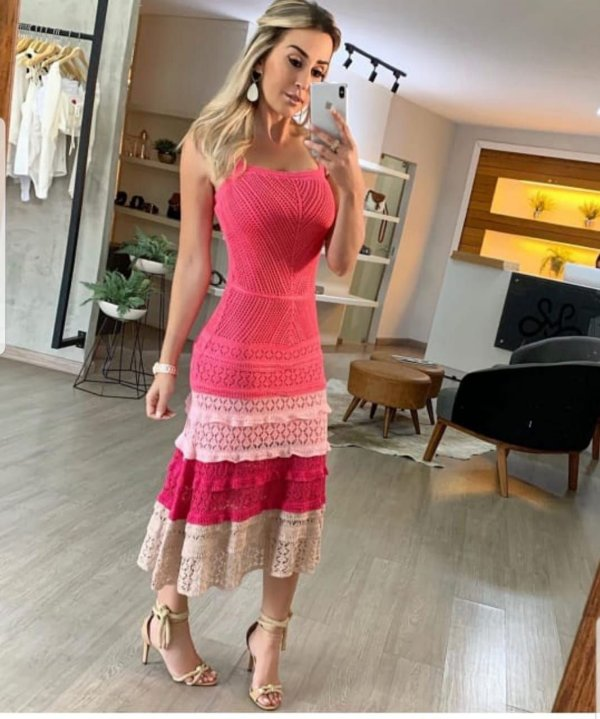 Vestido em tricot - Pink love