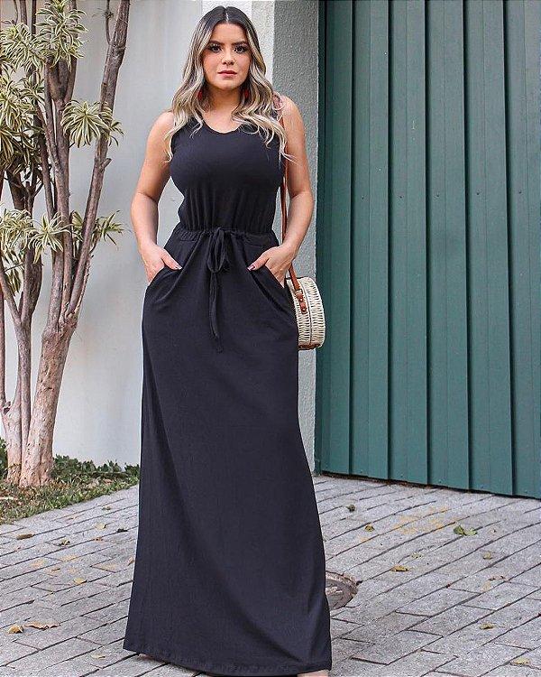 Vestido Longo Regata Com Bolso Preto