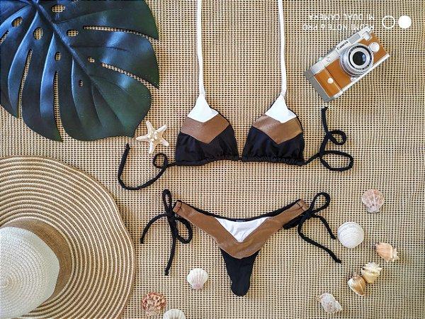 Biquíni Resort - Nude : Top cortininha + calcinha de lacinho