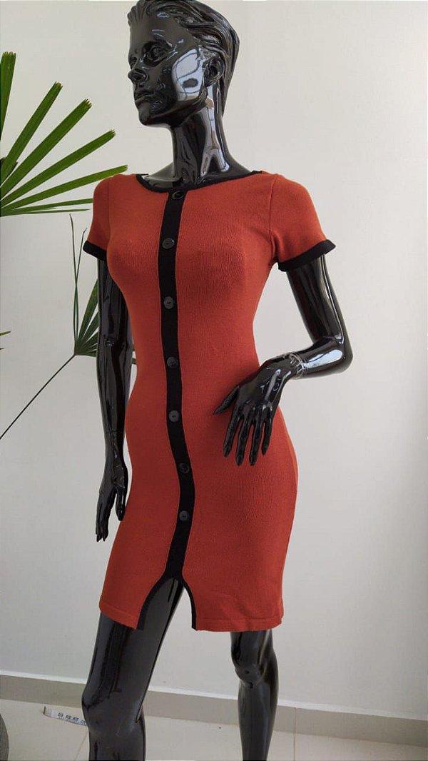 Vestido em modal com manguinhas Helena - cor terracota