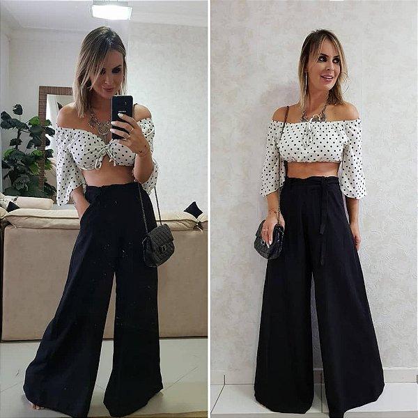 Calça pantalona com elástico Karen- Preta