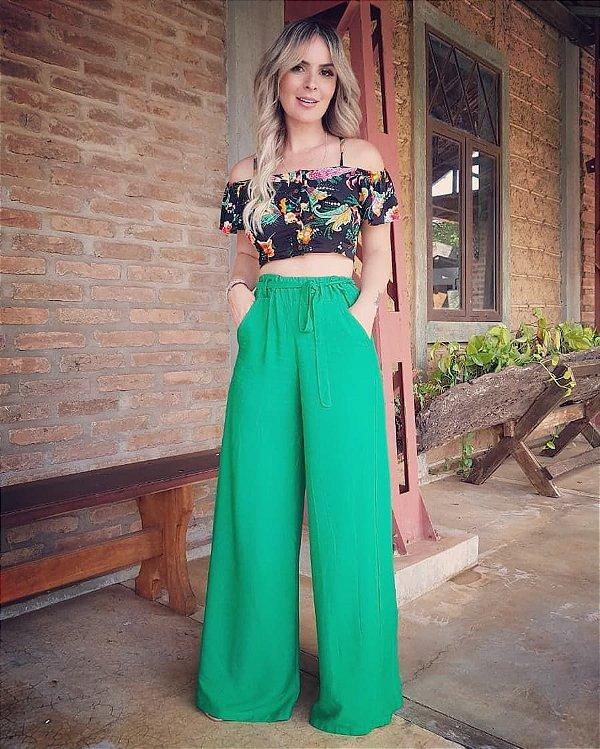 Calça pantalona com elástico Karen- Verde