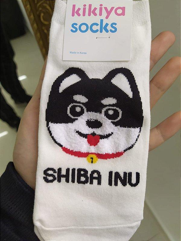 Meia feminina coleção Dogs - Shiba Inu branco