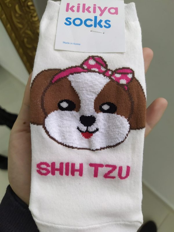 Meia feminina coleção Dogs - Shitzu