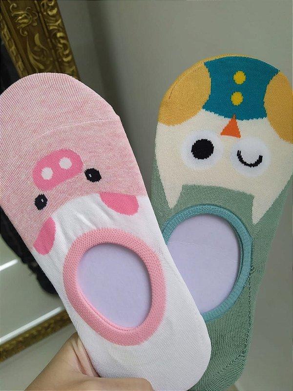 Kit com 2 meias sapatilhas femininas - porquinho e coruja - Tamanho 35 a 40