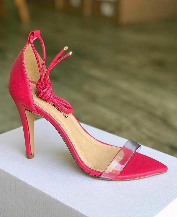 Sandália com tira transparente e bico folha - Rosa