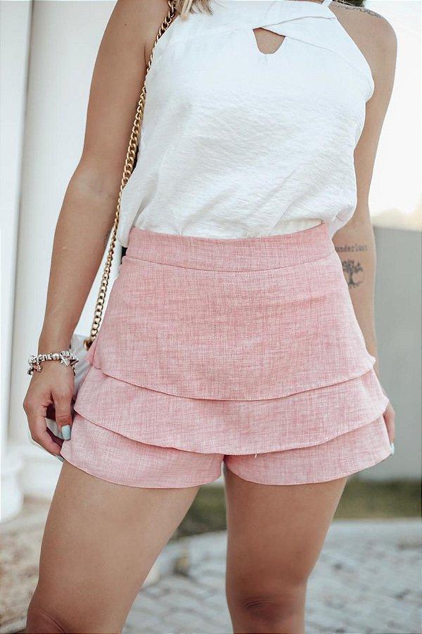 Short Saia Camadas - Rosa