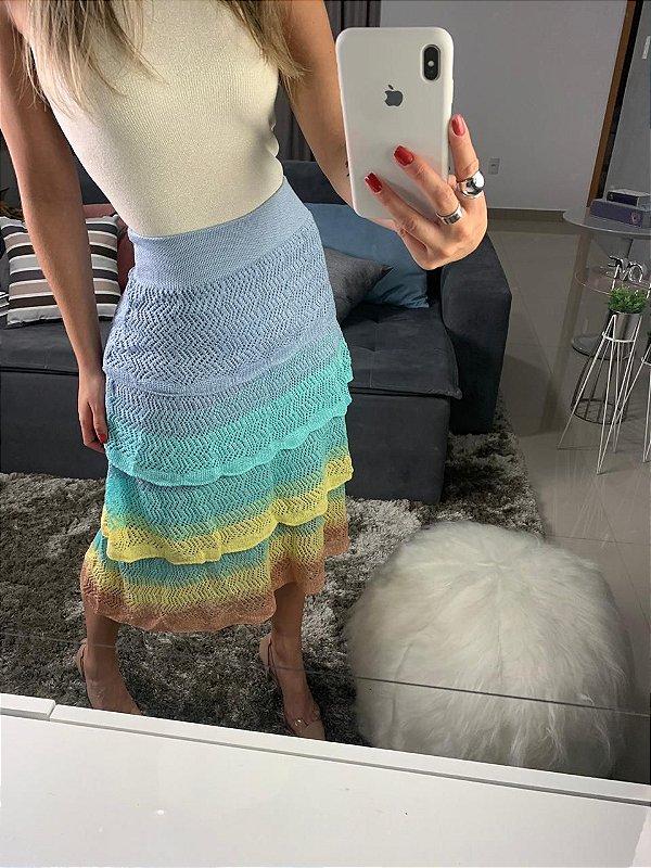 Saia em tricot camadas de cores - Azul