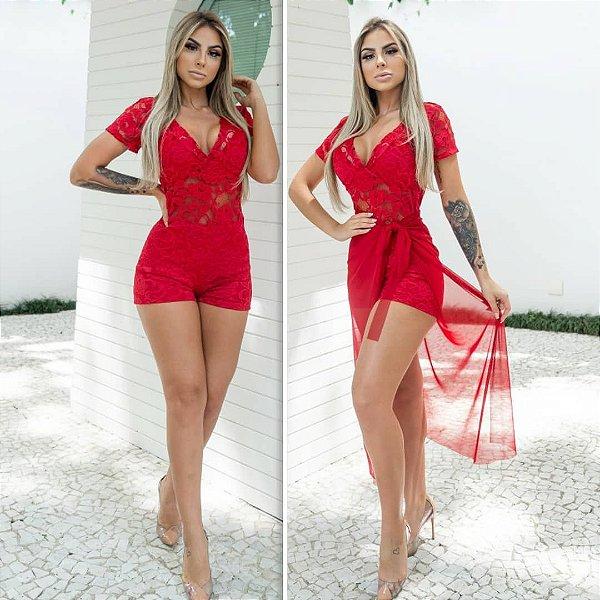 Macaquinho de renda (acompanha saia de tule) - Vermelho