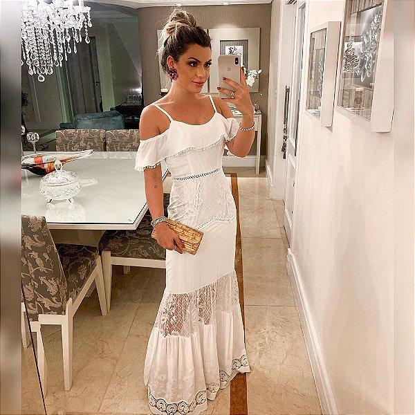 Vestido longo branco - Lavínia