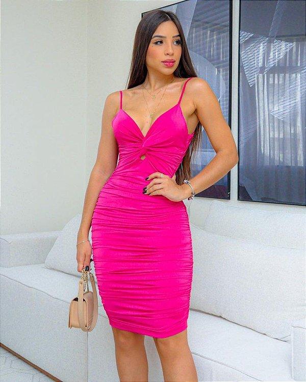 Vestido de rayon drapeado - Pink