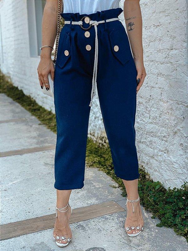 Calça pantacourt clochard de linho - Azul Marinho