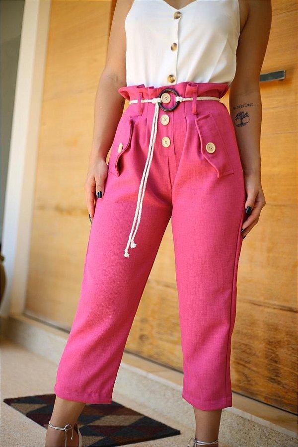 Calça pantacourt clochard de linho - Pink