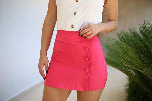 Short saia com botões forrados - Pink