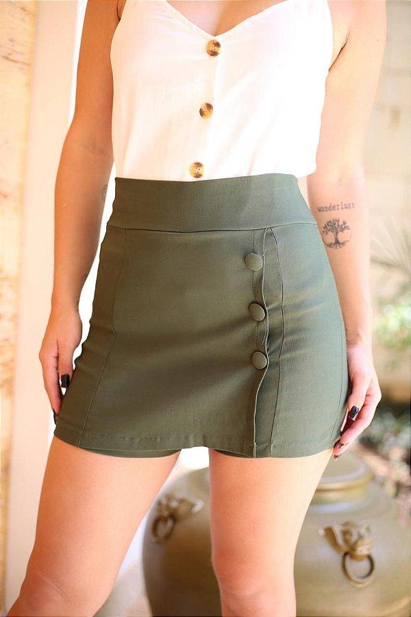 Short saia com botões forrados - Verde militar