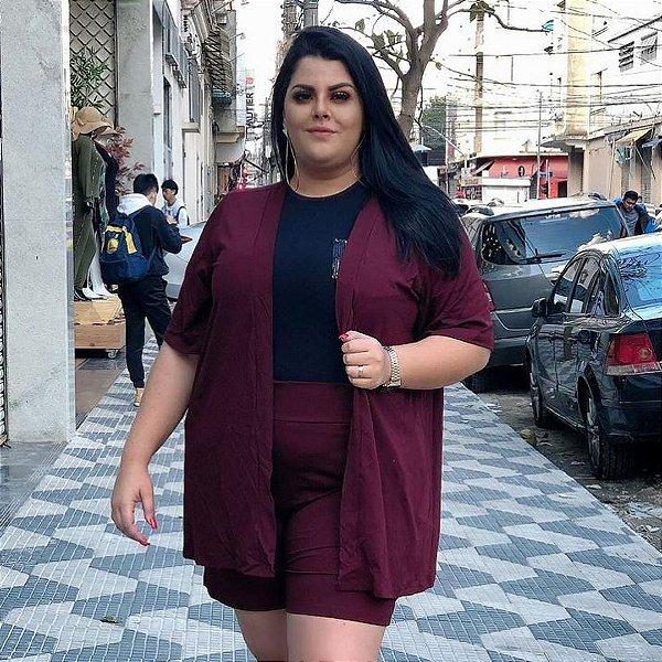 Conjunto em viscolycra de kimono + shorts - Marsala (PLUS)