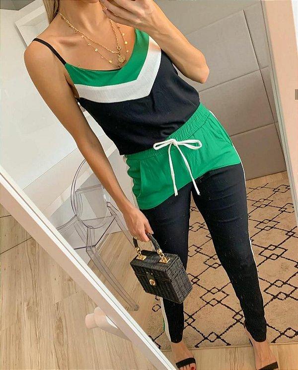Conjunto sport chic em viscolinho - Preto + verde