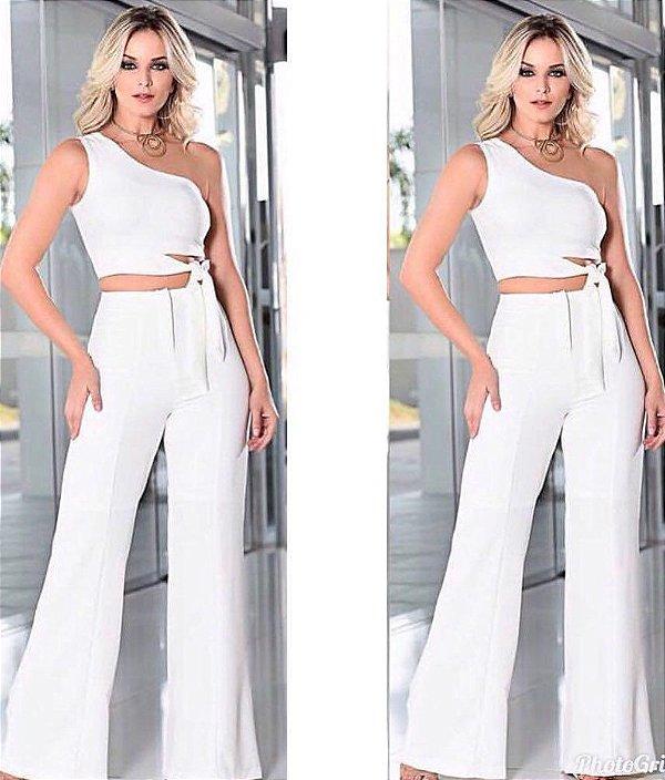 Conjunto cropped + calça flare Chiara - Off white