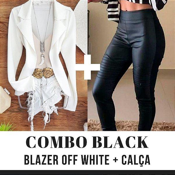 COMBO BLACK - Blazer off white + Calça couro eco na frente e neoprene atrás