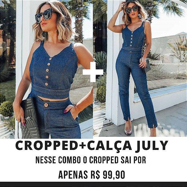 COMBO BLACK - Cropped + Calça cigarrete jeans July