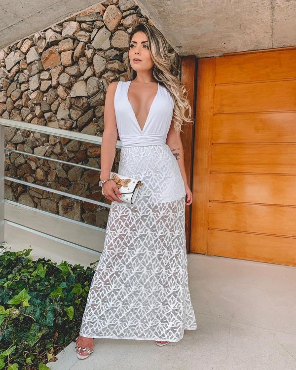 Vestido longo branco rendado - Maldivas
