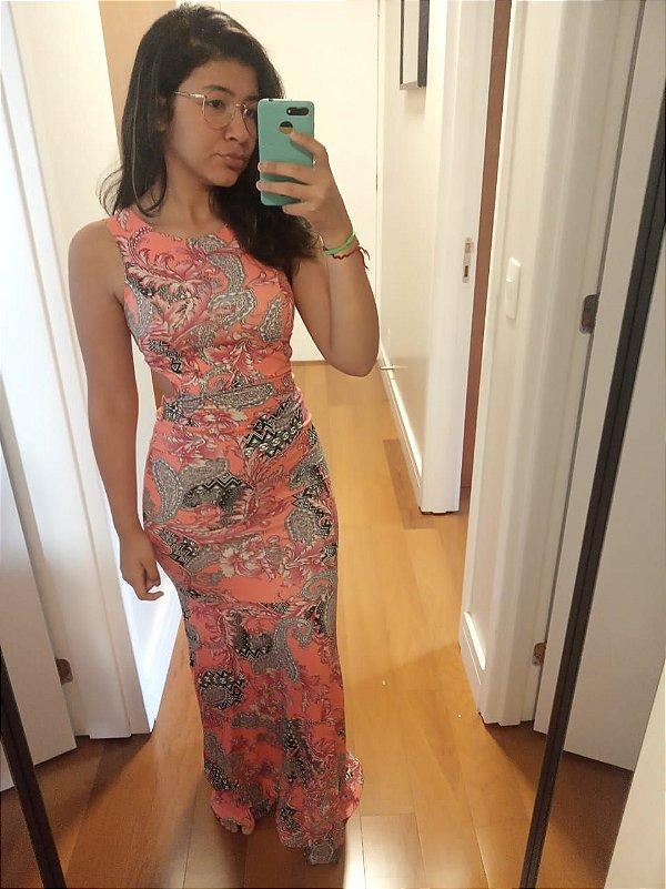 Vestido sereia em viscolycra estampado - Coral