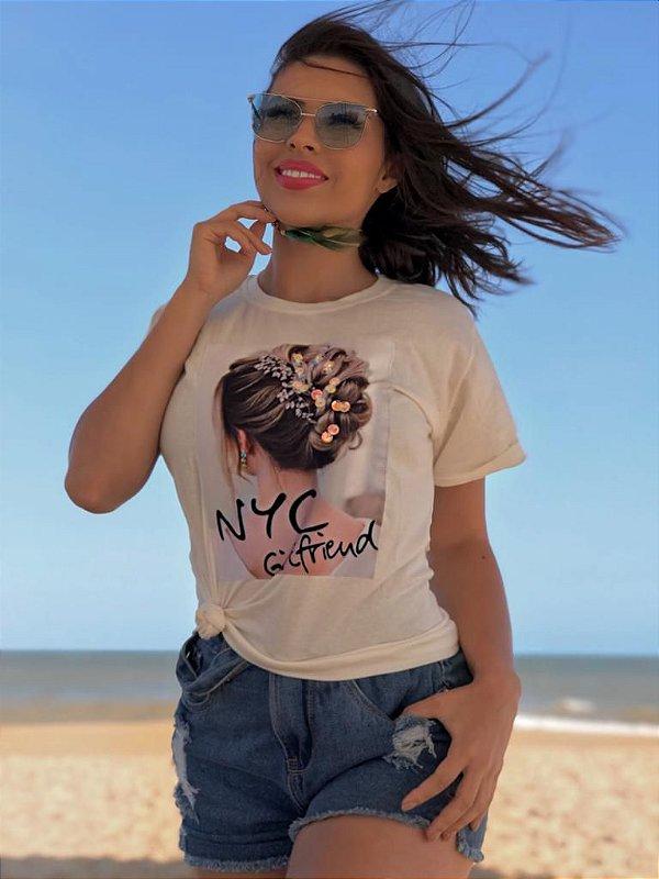 T-shirt branca com estampa com aplicação - NYC