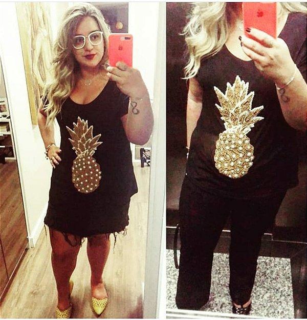 T-shirt preta bordada à mão até o tamanho Plus Size - Abacaxi