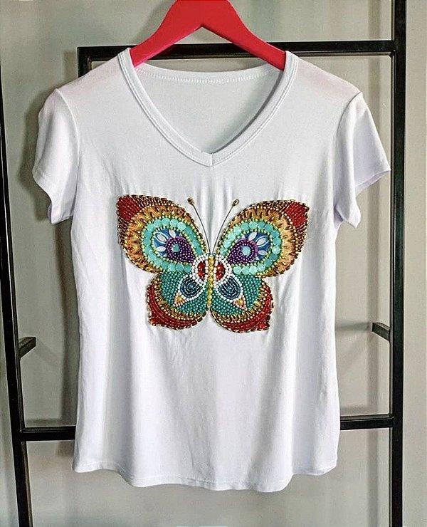 T-shirt  bordada à mão até o tamanho Plus Size - Borboleta