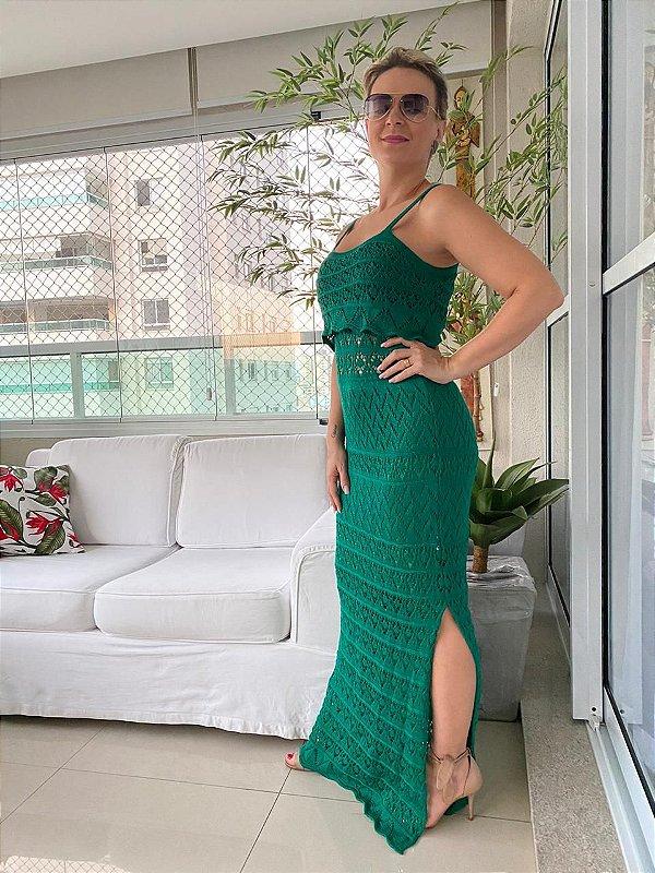 Vestido longo tricot verde DIVO