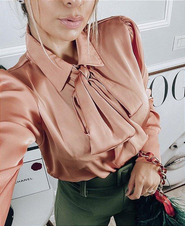 Camisa Cetim Luxo - Rose