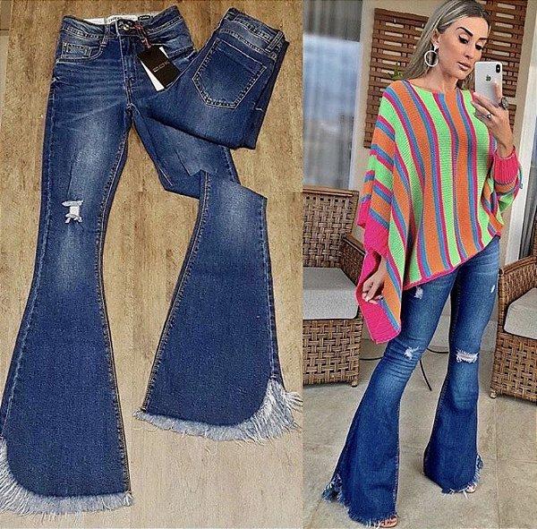 Maxi Flare Jeans Detalhe Barra