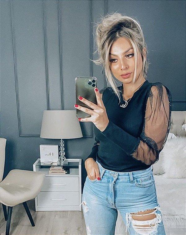 Blusa Canelada + Tule Mirela - Preta