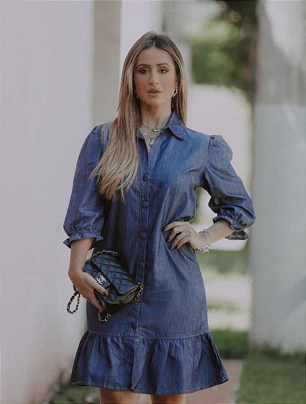 Vestido Jeans botões forrados.