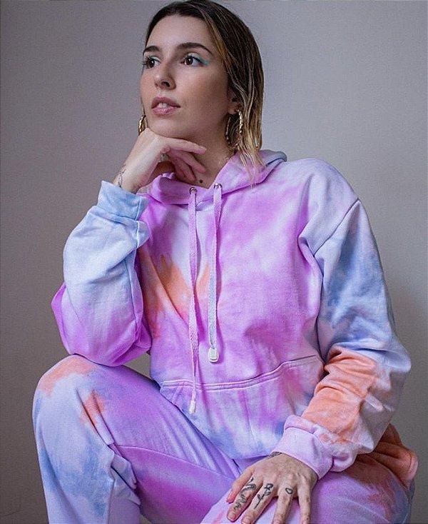 Conjunto de moletom Tie Dye Candy Colors do P ao GG (calça e blusa)