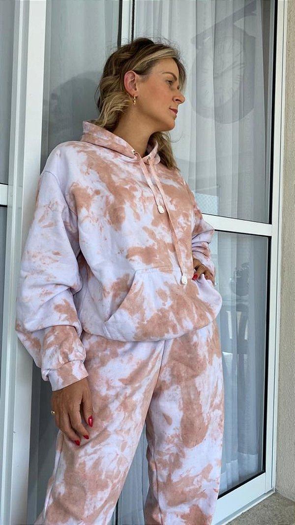 Conjunto em Moletom Tie Dye Nude do P ao GG (calça e blusa)