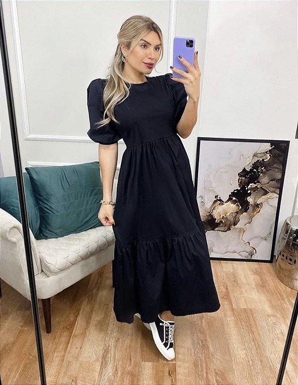 Vestido Tricoline Inspired Moni - Preto