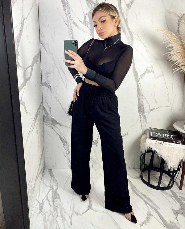 Calça Pantalona Forrada com Cós em Elastex