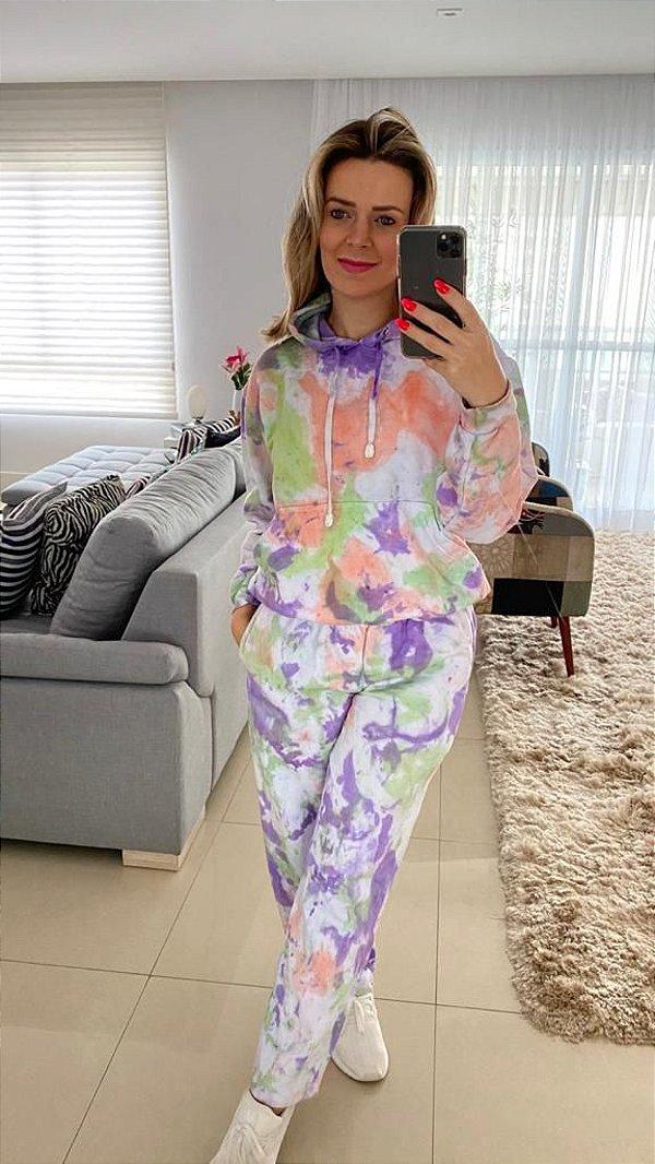 Conjunto em Moletom Tie Dye fantasy  (calça e blusa)