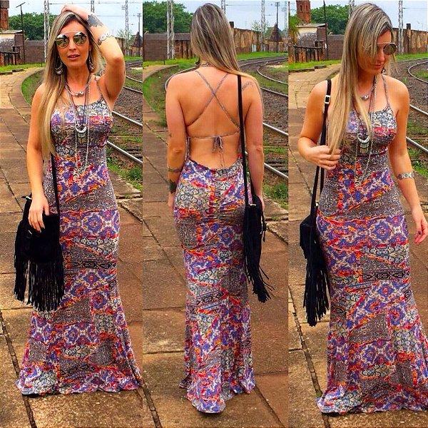 Vestido longo estampado com amarração nas costas