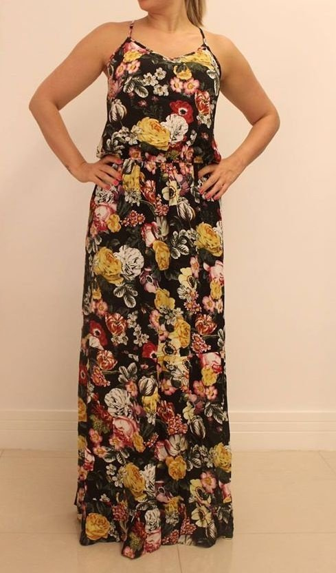 Vestido longo em tecido com estampa floral