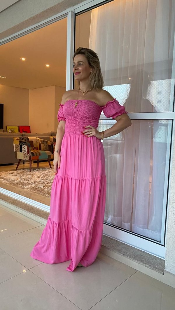 Vestido Longo rosa com Elastex