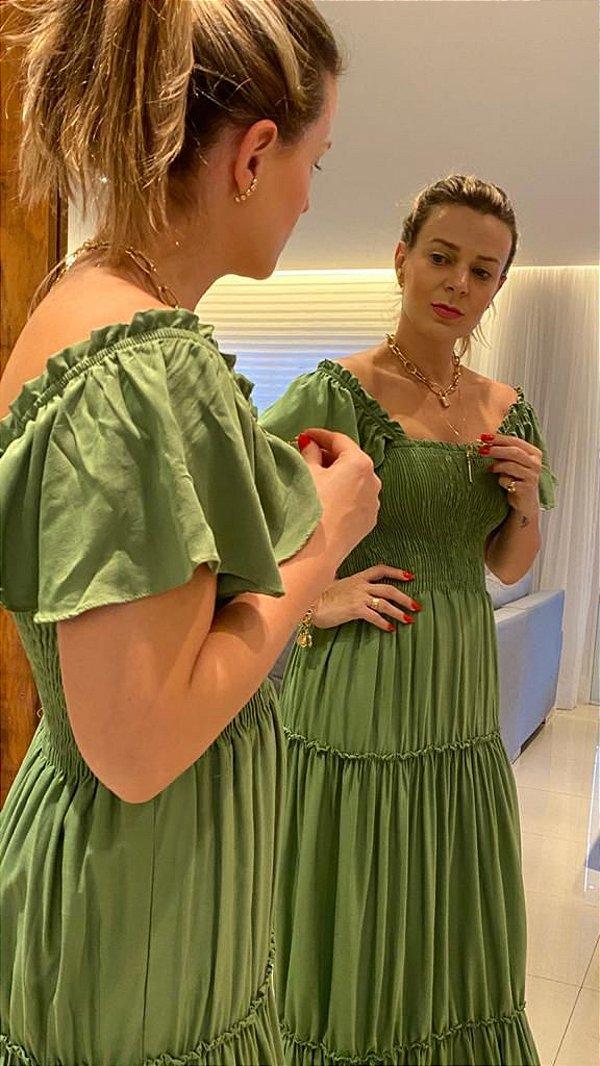 Vestido Longo verde com Elastex