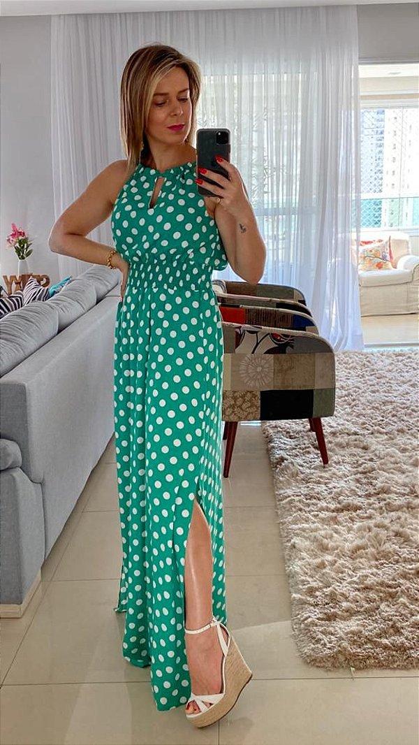 Vestido Longo verde com bolinhas brancas