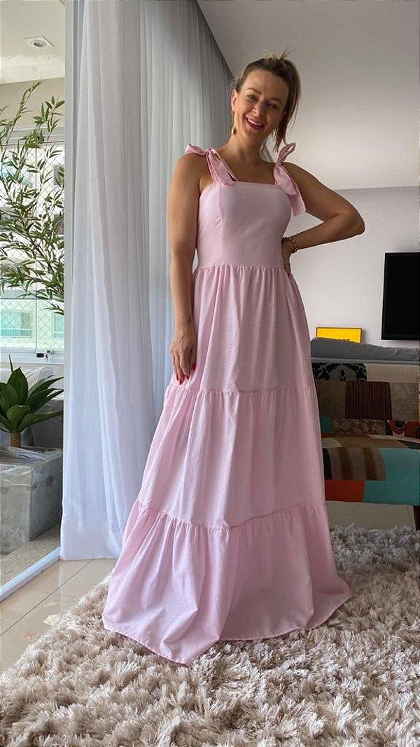 Vestido Longo estampa Mini listras Rosa com Elastex