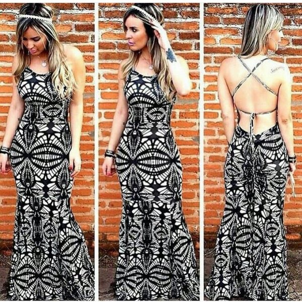 Vestido longo sereia com decote nas costas black and white
