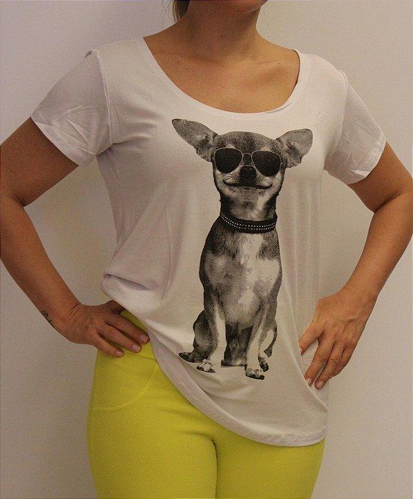 Tshirt encantadora com estampa do cachorro de óculos